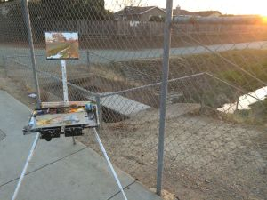 My easel set up on White Road.