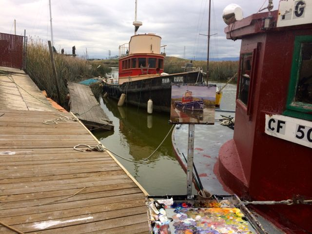 My easel on the docks in what is left of the Alviso Marina.