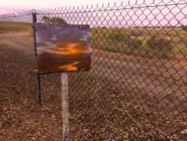My painting with the prior day's sunset painting by the creek.
