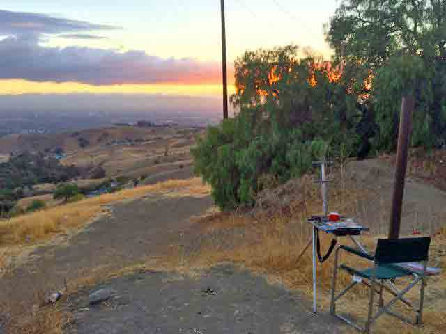 My easel along the side of Mt Hamilton Rd.