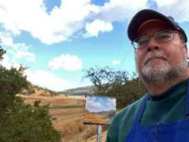 OK, so I did a selfie of me, the painting, and Uvas Reservoir
