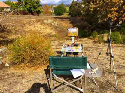 My easel at the creek. The skies were turning sunny.