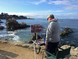 After the rain let up, I went back to Pacific Grove to finish the prior evenings painting. Although the light was different, I had enough color notes to finish the sunset.