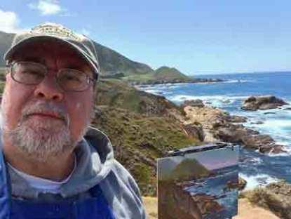 A selfie along the coast