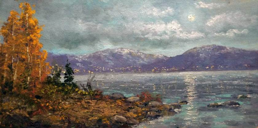 Harvest Moon over Tahoe, 8x16, oil on board