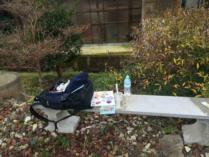 Paint kit by the Asahi River