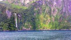 A waterfall in Milford Sound