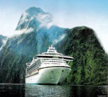 Diamond Princess cruise ship in Milford Sound