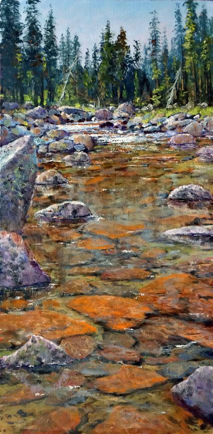 The Tuolumne, 24x12, oil on canvas