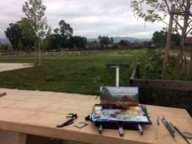 My easel on a park bench