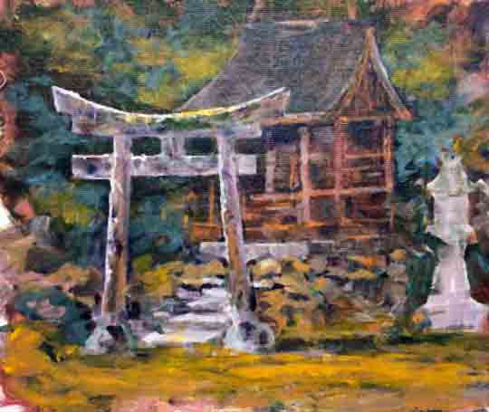 Shinto Shrine 1,8x10,acrylic on canvas