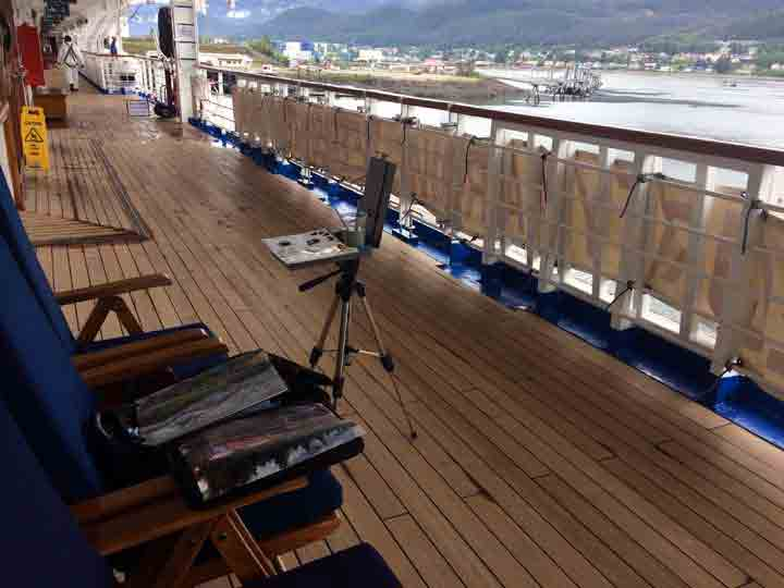 Painting from the cruise ship deck