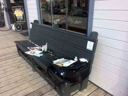 A convenient bench to spread out my materials