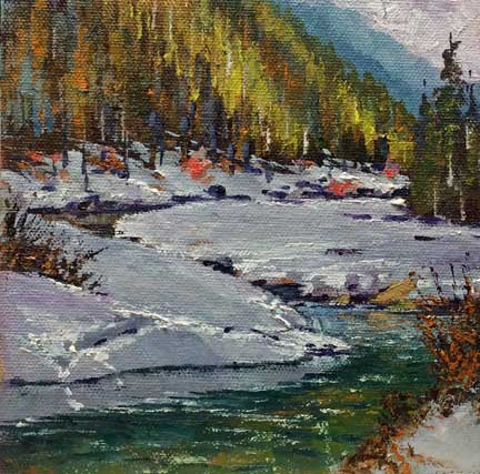 Truckee Thaw, 6x6, oil on panel