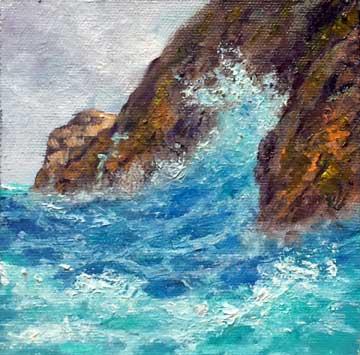 Baja Splash, 5x5, oil on panel