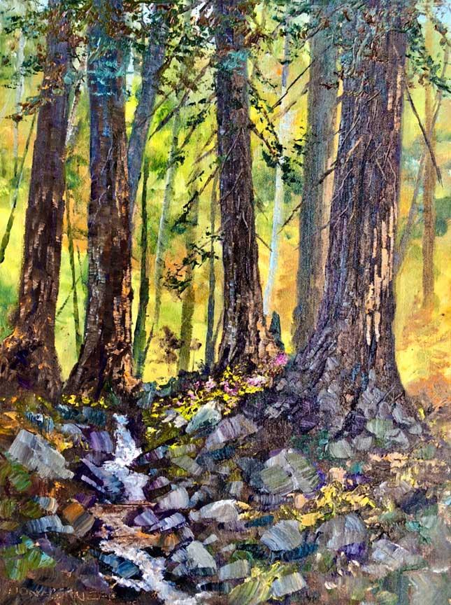 Palo Colorado Redwoods, 16x12, oil on panel