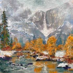 Misty Yosemite Falls, 6x6, oil on panel