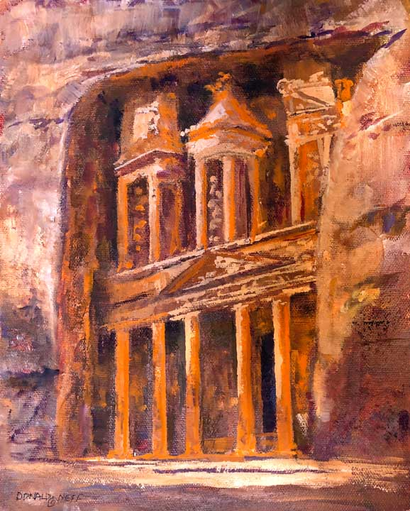 Al-Khazneh (The Treasury), 8x10, oil on panel