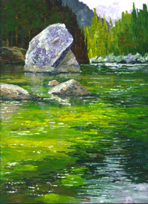 acrylic art demo, merced river