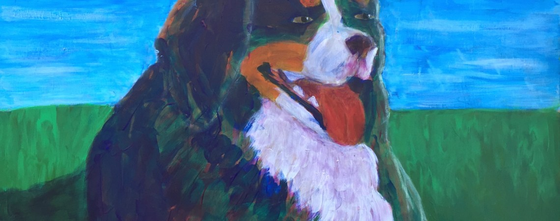 Bernese Mtn Dog resting on the Grass  - Original For Sale - Prints Available