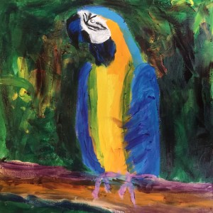 Tropical Parrot in blues and yellows in an expressionist style - artist Donald Ryker - hard hat painter