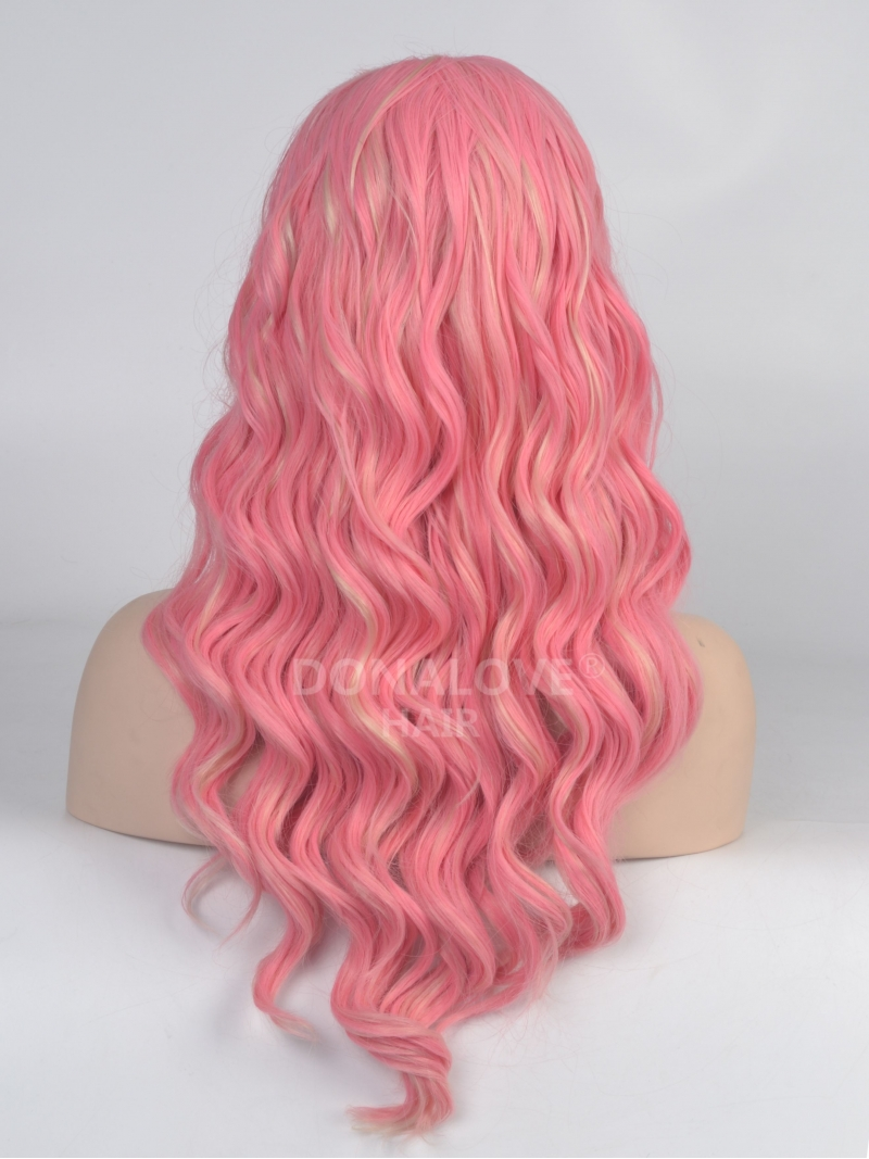 Pink Mid Back Length Wavy Synthetic Lace Wig SNY023
