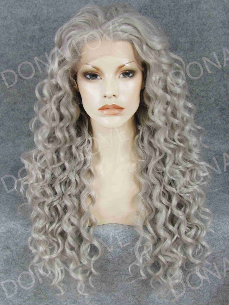 Gray Waist Length Curly Synthetic Lace Wig SNY068