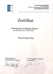 Podologische Fußpflege 1 Zertifikat