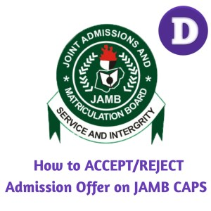 How to accept admission offer on jamb caps
