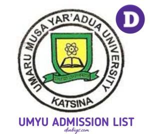 UMYU Admission List