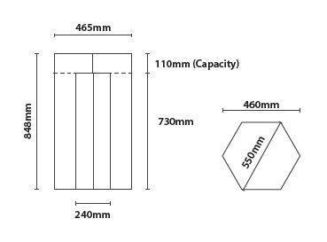 Cesta Hexagonal modelo Accra detalle medidas
