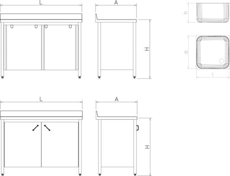 Fregaderos con Puertas Correderas Sin Escurridor imagen 3