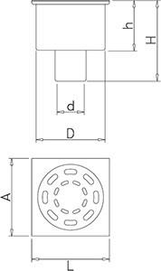 Sumidero Sifónico Salida Vertical esquema medidas