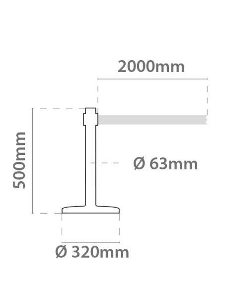 Postes Separadores Acero Mini esquema medidas