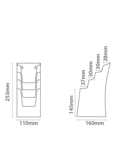 Dispensador de Folletos Negro para Colgar imagen medidas A4