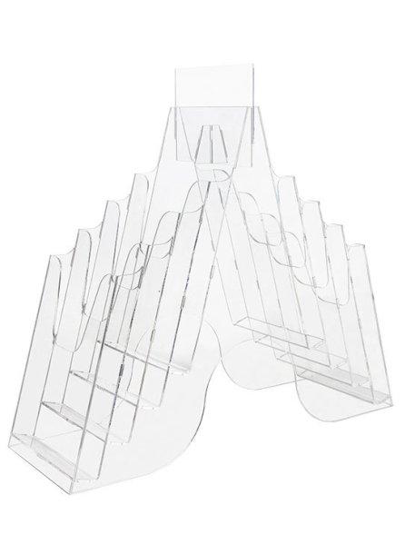 Expositor de Folletos Plástico Transparente ocho huecos