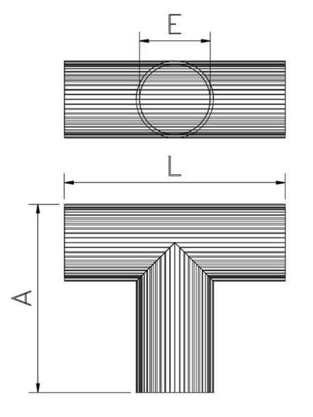 Tubo en forma de T medidas