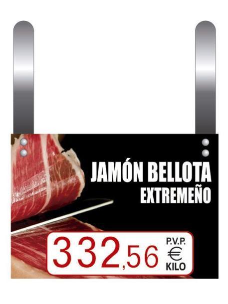 Cartel Precio Jamones con Ganchos tres cifras texto