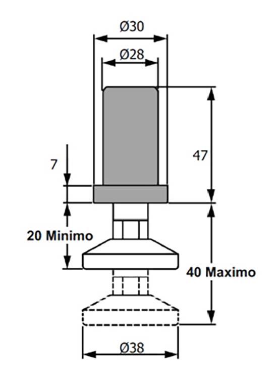 Pata regulable de poliamida negra redonda medidas