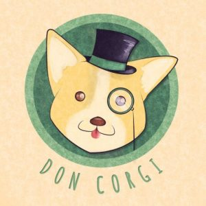 don corgi logo, youtube link, speed painting, gaming,