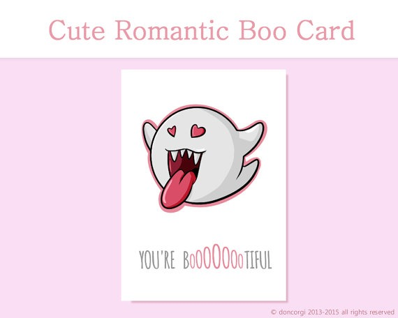 Super Mario Valentine's Day Card, Boo, Bootiful, geeky card, romantic card, gaming, geek, for him, for her