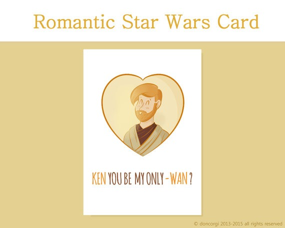 Obiwan Kenobi Valentine's Day Card, Romantic Card, Star Wars Valentines Day Card, for him, for her