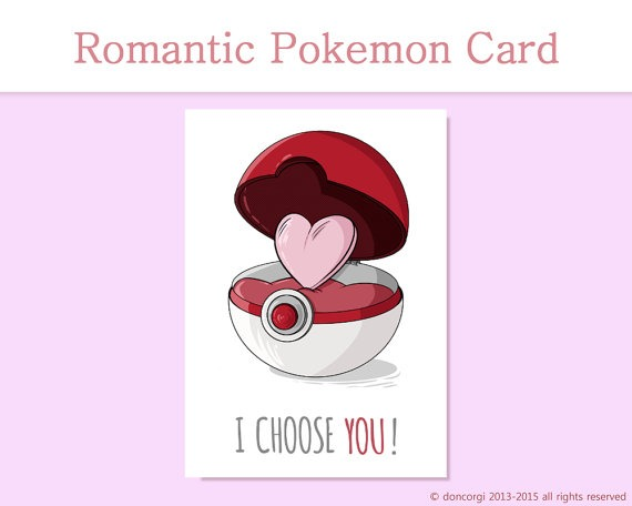 I Choose You Romantic Card, Valentine's Day Card, Pokemon Romantic Card, Cute, Proposal Card, Gift, for him, for her
