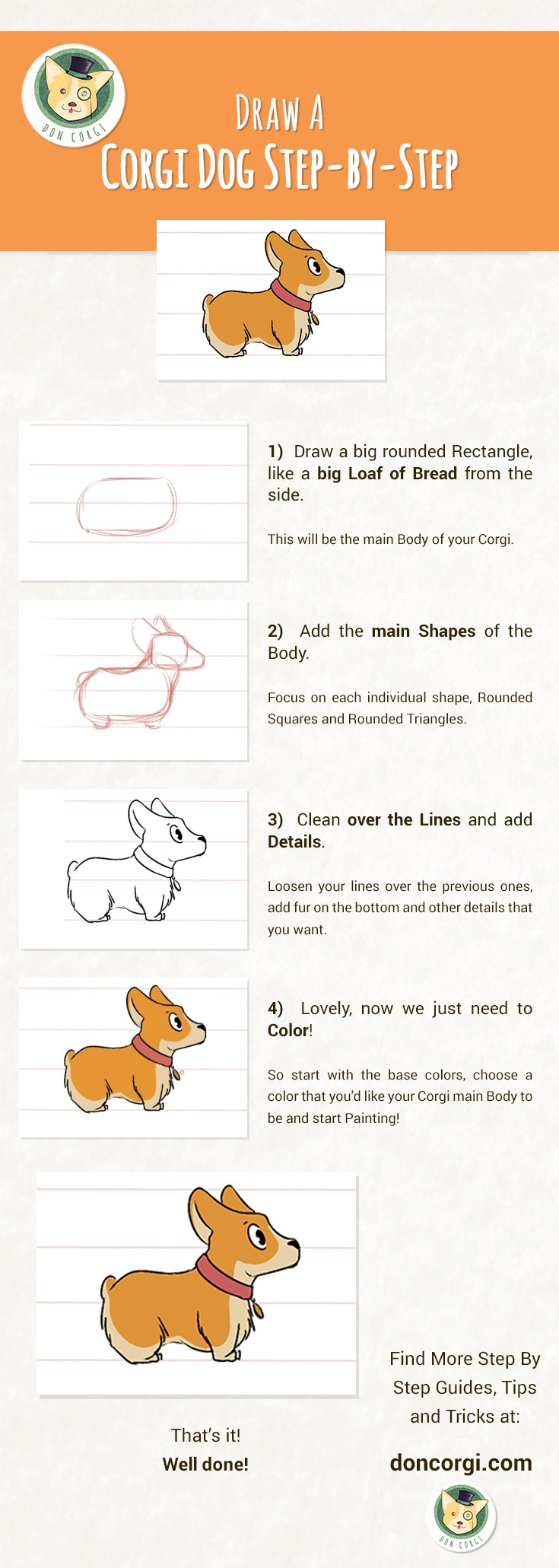 How to Draw a Dog: Draw a Corgi Pup Step by Step