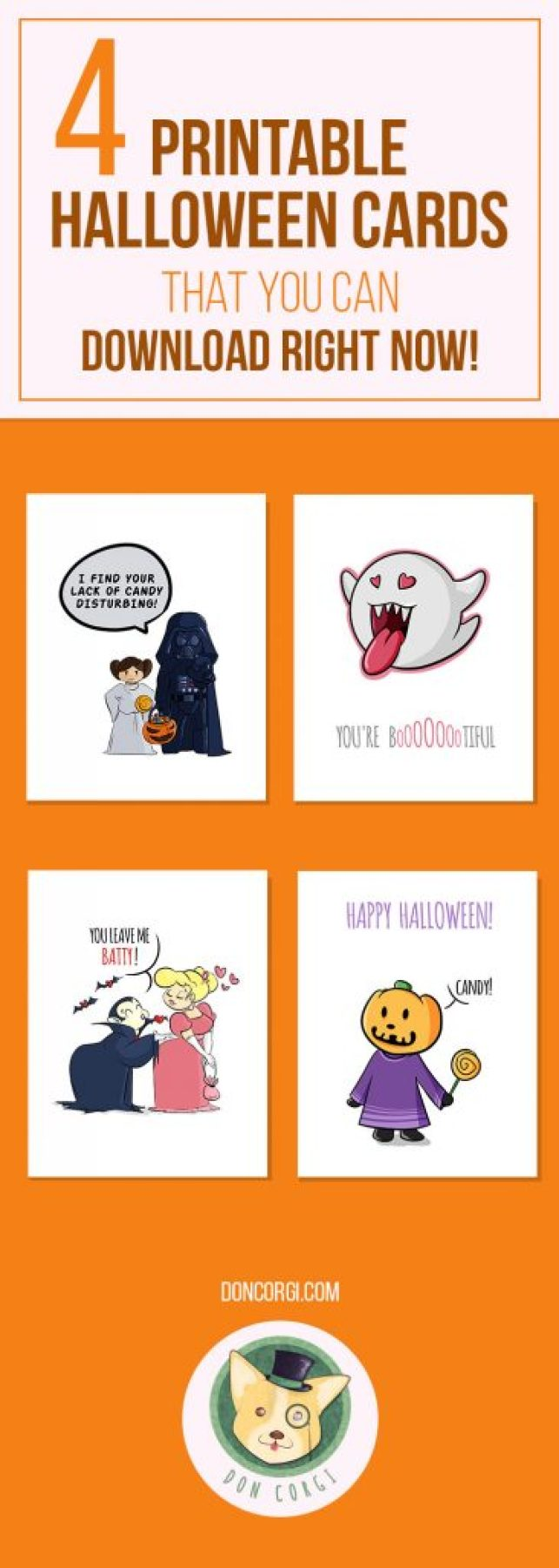 Printable Halloween Cards to Download on Etsy by Don Corgi