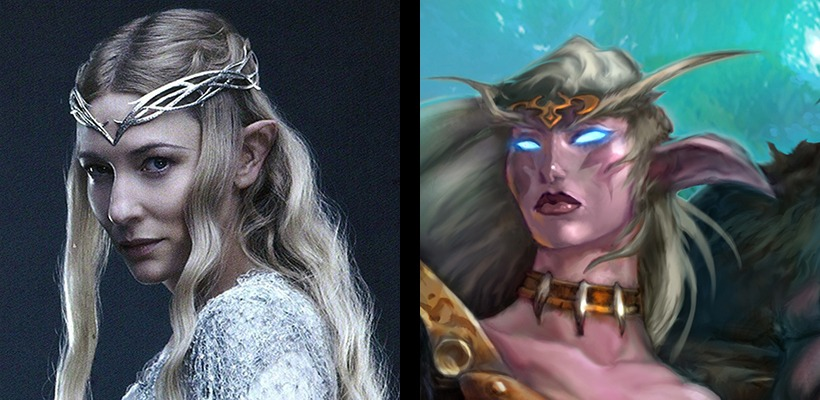 Cate Blanchett Galadriel, from Lord of the Rings. And Ears from the Night Elves from World of Warcraft