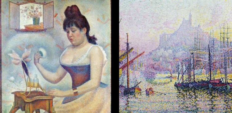 Paul Signac's 'Notre Dame de La Garde' and Georges Serat 'Jeune Femme se poudrant' are great examples of Pointilism