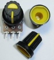 5 Pezzi BLACK PLASTIC KNOB WITH YELLOW POINTER