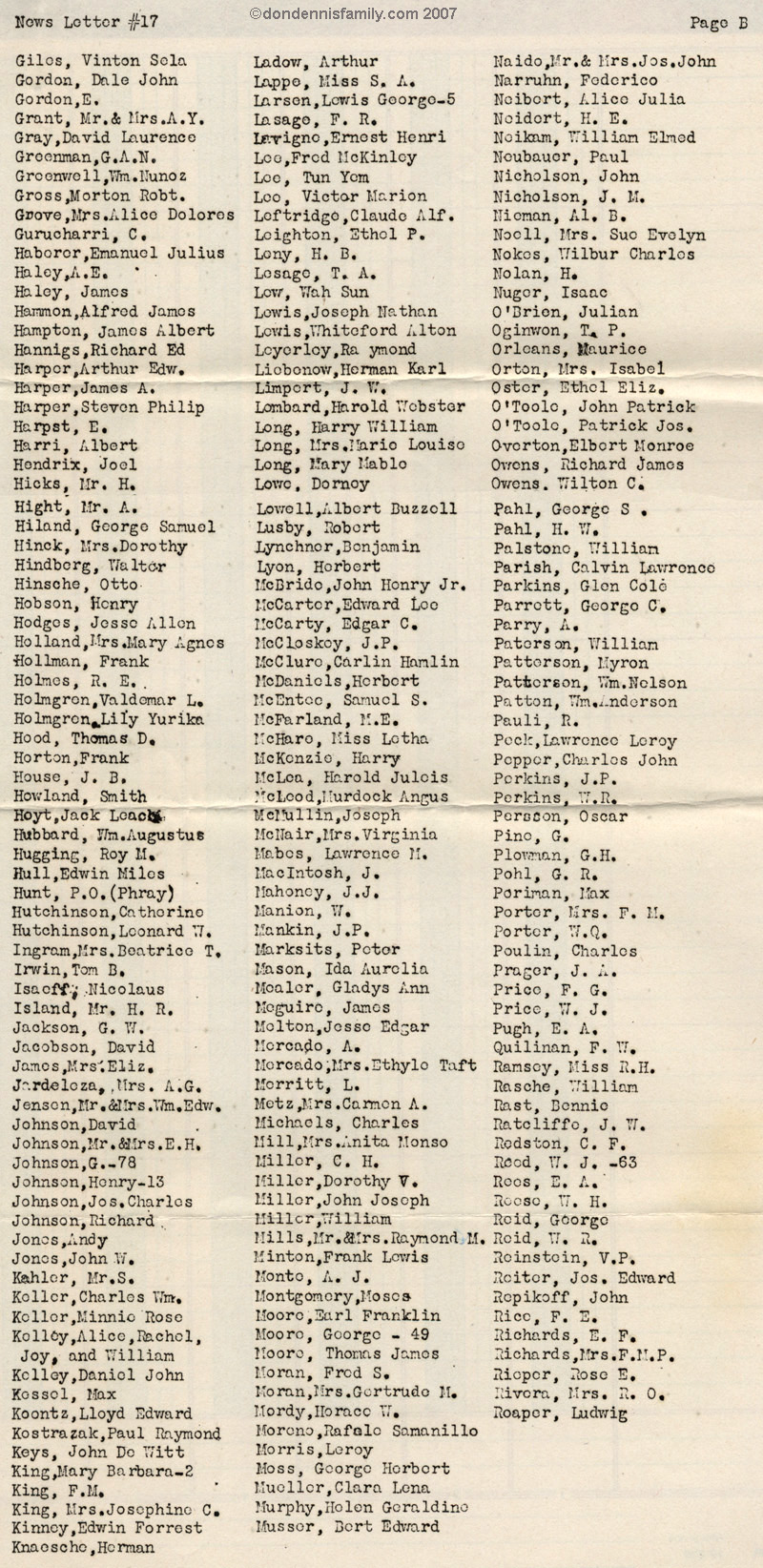 Military Letters List