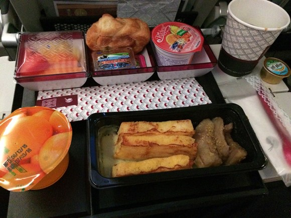 Desayuno en vuelo Qatar A380